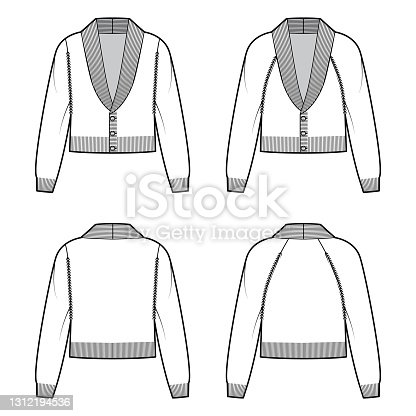 Set of cropped Cardigans Shawl collar Sweater technical fashion illustration with sleeves, waist length, knit trim