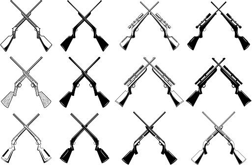 Set of crossed hunting rifles and guns. Design element for label, sign. badge. Vector illustration