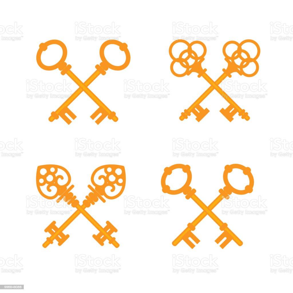 Set of crossed old vintage golden keys. Vector flat illustration.