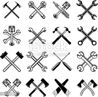Set of crossed saws, hammers, pistons, wrench, axe. Design element for label, emblem, sign. Vector illustration
