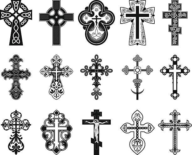 set of crosses. - gothic fashion stock illustrations, clip art, cartoons, & icons