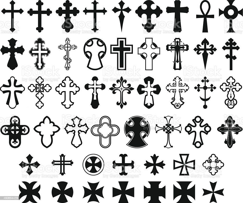 Set of crosses. vector art illustration