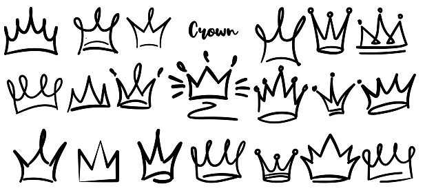Hand drawn crowns  set isolated on white background for queen icon, princess diadem symbol, doodle illustration, pop art element, beauty and fashion shopping concept. Crown icon. vector 10 eps.