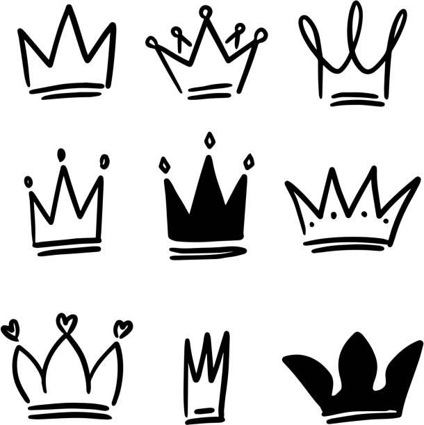素描風格的皇冠插圖集。電暈符號。tiara 圖示。 - 皇冠 頭飾 幅插畫檔、美工圖案、卡通及圖標