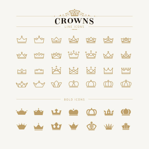 Set of crown line and bold icons Set of vector crown icons crown headwear stock illustrations