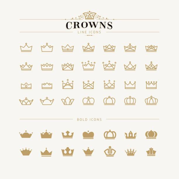 set of crown line and bold icons - 皇冠 頭飾 幅插畫檔、美工圖案、卡通及圖標