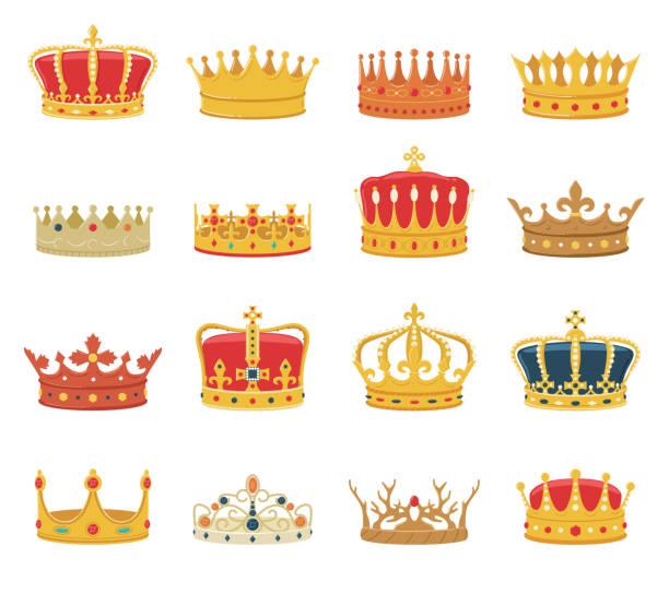 白色背景上的一組冠 - 皇冠 頭飾 幅插畫檔、美工圖案、卡通及圖標