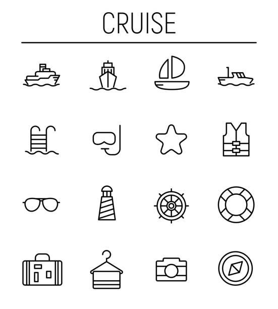 illustrazioni stock, clip art, cartoni animati e icone di tendenza di set of cruise icons in modern thin line style. - immerse in the stars