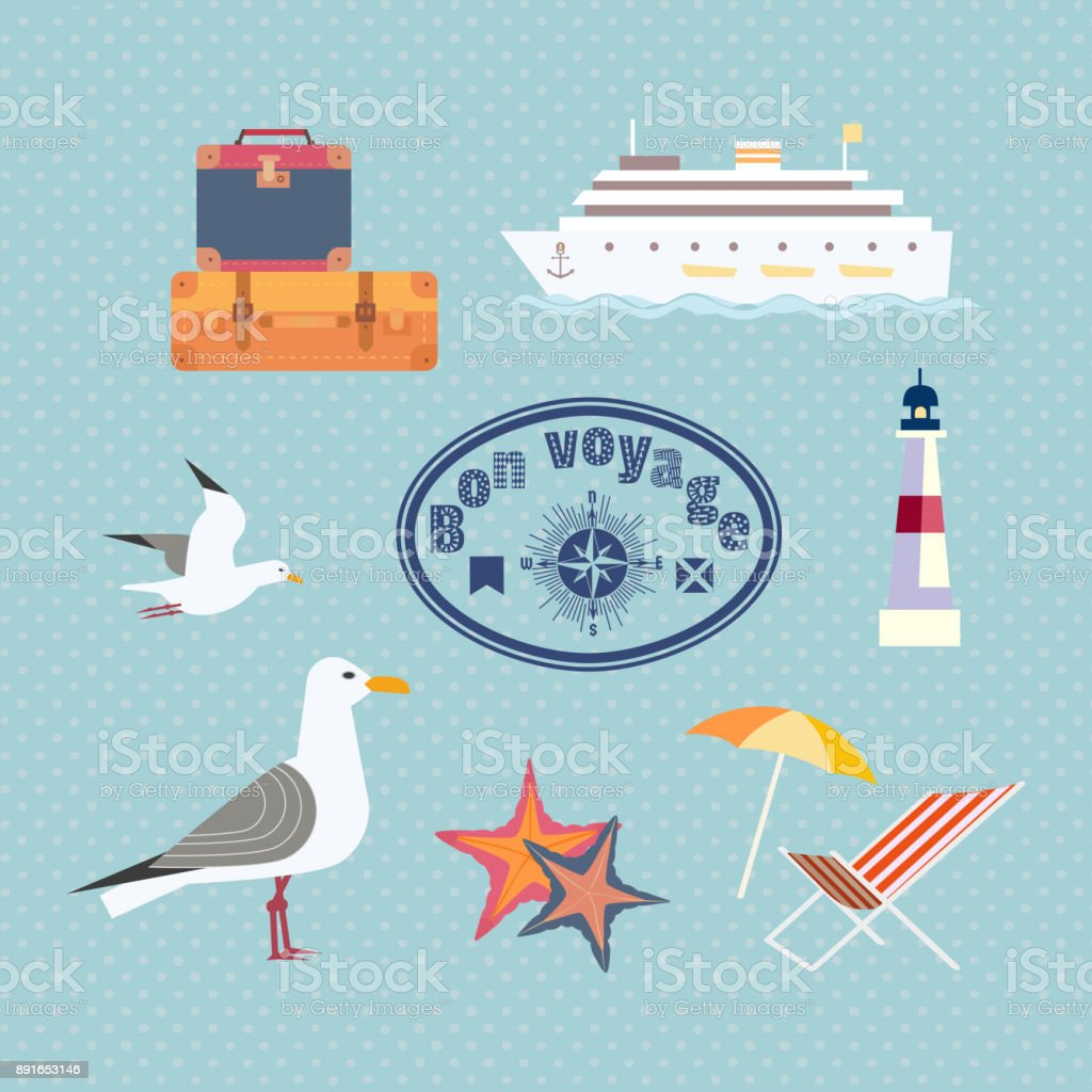 set of cruise trip icons vector art illustration