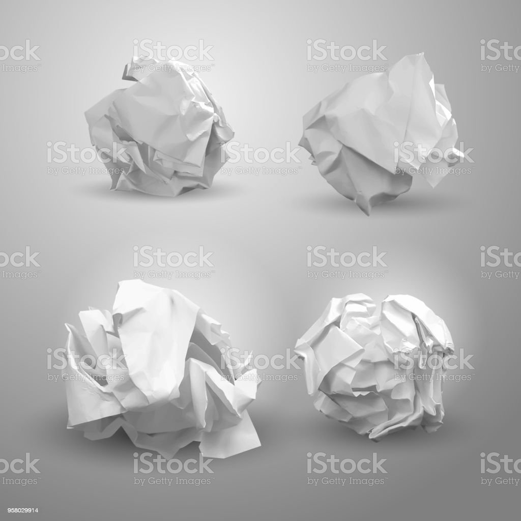 Set of crumpled paper ball. For business concept, banner, web site and other. Crumpled paper was after brainstorming. Vector illustration. Isolated on gray background vector art illustration