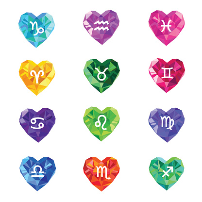 Set of crystal jewel heart shaped astrological zodiac signs symbols.