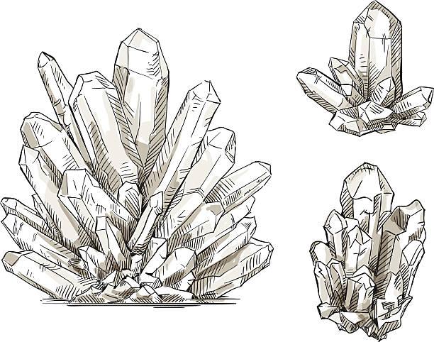 bildbanksillustrationer, clip art samt tecknat material och ikoner med set of crystals drawings. vector illustration. - stalagmit