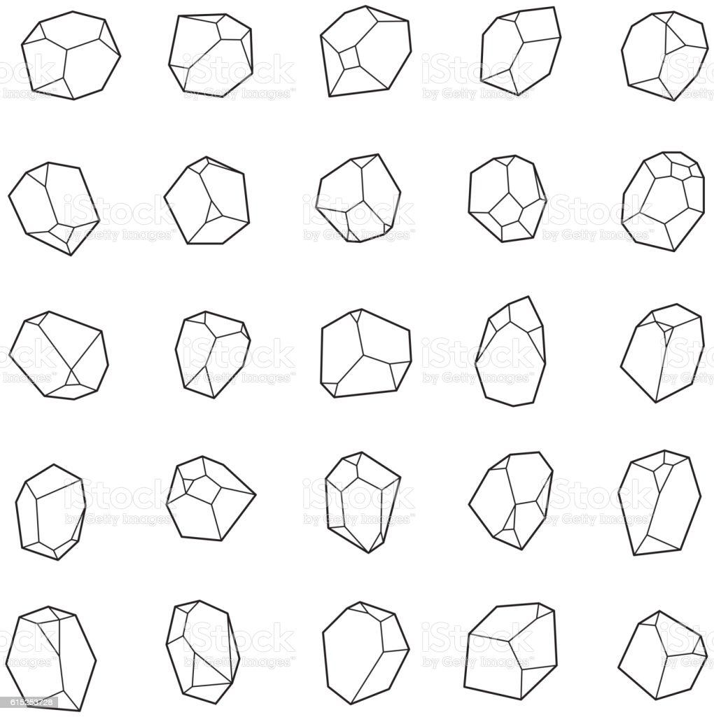 Set of crystals, gems. vector art illustration