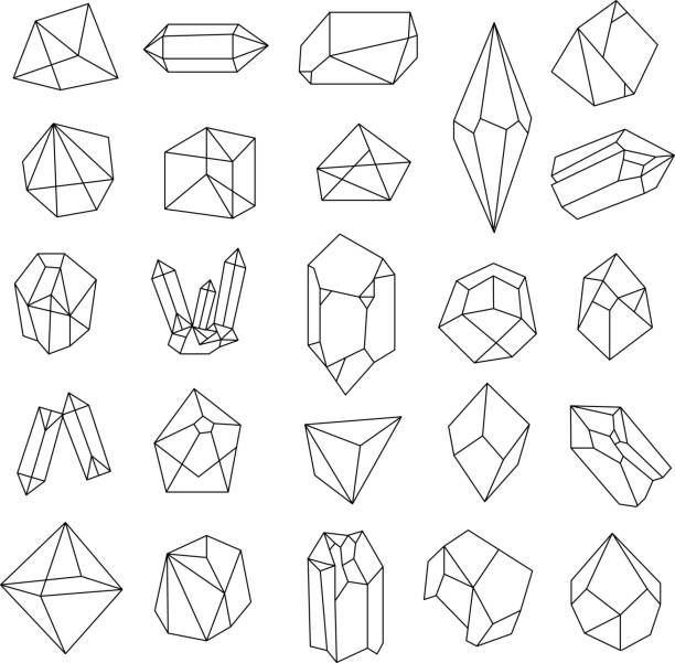 satz von kristallen.   geometrische formen. - mineral stock-grafiken, -clipart, -cartoons und -symbole