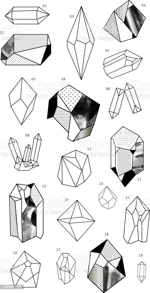Set of crystals. Geometric shapes. vector art illustration