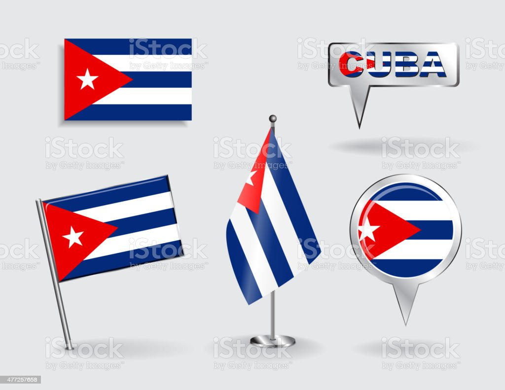 Set of Cuban pin, icon and map pointer flags. Vector vector art illustration