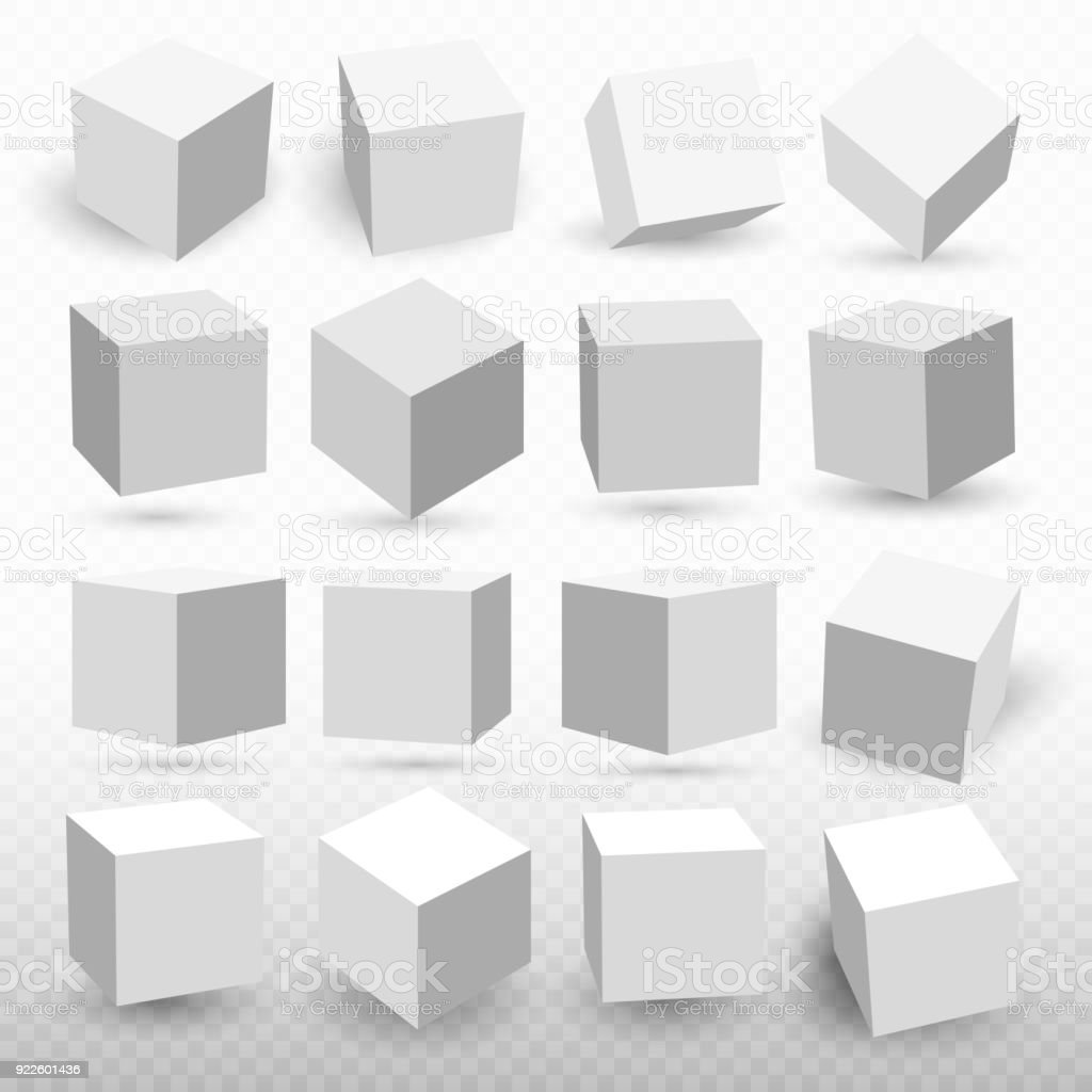 A set of cube icons with a perspective 3d cube model with a shadow. Vector illustration. Isolated on a transparent background vector art illustration