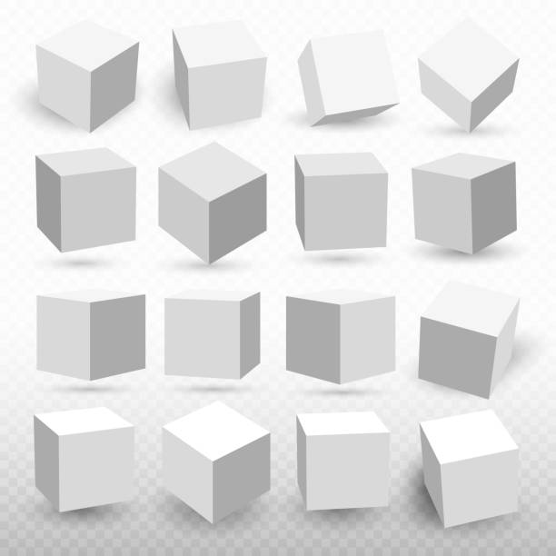 a set of cube icons with a perspective 3d cube model with a shadow. vector illustration. isolated on a transparent background - boxes stock illustrations, clip art, cartoons, & icons