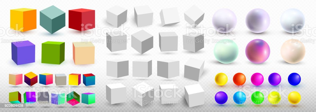 A Set Of Cubic Icons And Balls With A Perspective 3d Cube