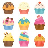 istock Set of cup cake icon with coating sugar 819650250