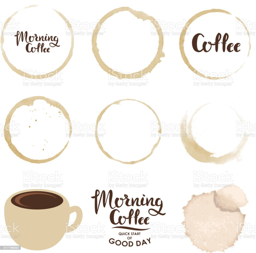 Set of cup stains. Morning coffee vector art illustration