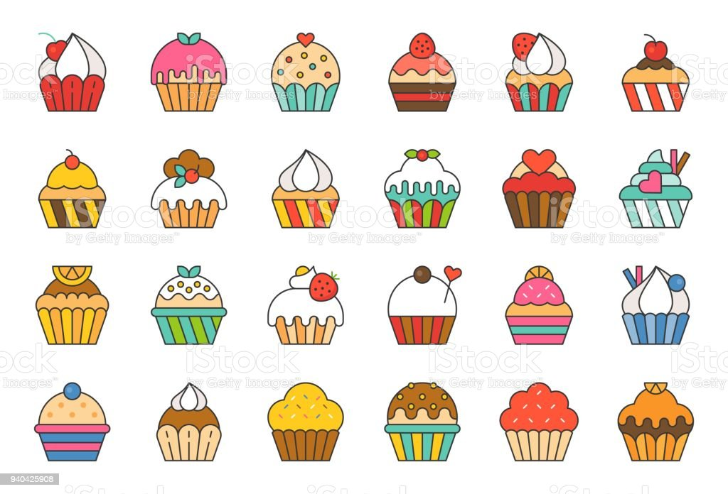 set of cupcake in various style, filled outline icon vector art illustration