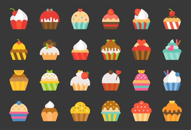 set of cupcake in various style, flat design icon vector art illustration