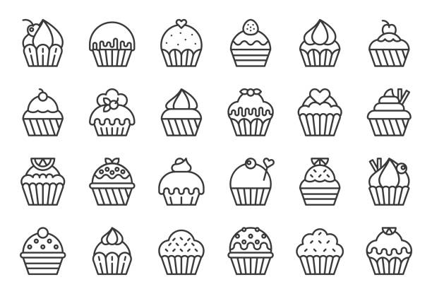 set of cupcake in various style, outline icon vector art illustration