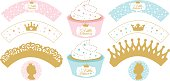 Set of cupcake wrappers for party.