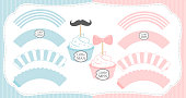 Set of cupcake wrappers vector template. Pink and blue with white stripes.
