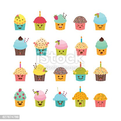 Set Of Cupcakes And Muffins Cute Cartoon Characters Emoji