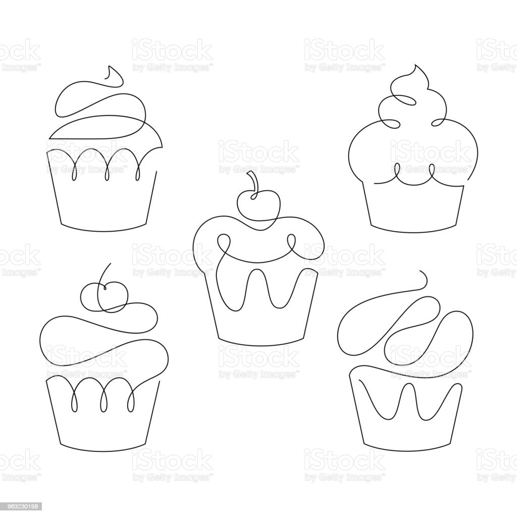 Set of cupcakes in trendy one line style. Vector. - Royalty-free Abstrato arte vetorial