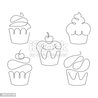Set of cupcakes in trendy one line style. Vector illustration on white background.