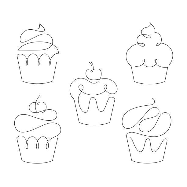 ilustrações de stock, clip art, desenhos animados e ícones de set of cupcakes in trendy one line style. vector. - bolinho