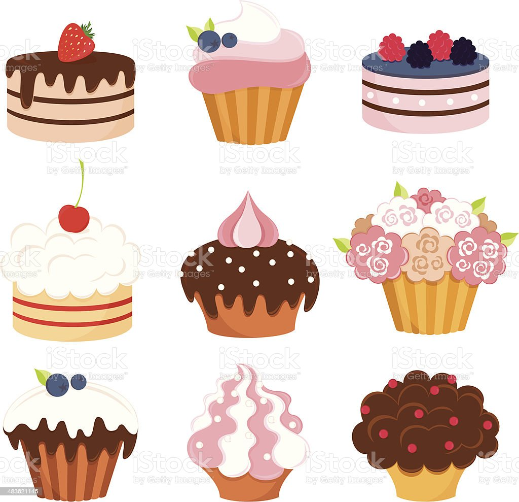 Set of cupcakes royalty-free stock vector art