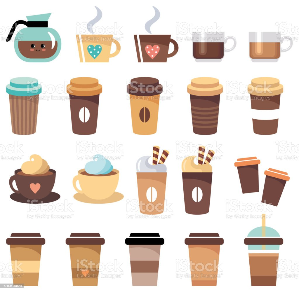 Set of cups and glasses with coffee royalty-free set of cups and glasses with coffee stock illustration - download image now