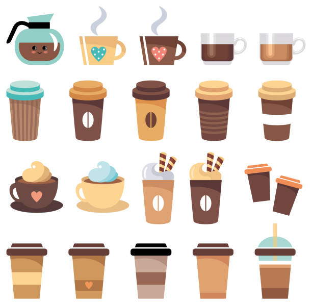 set of cups and glasses with coffee - coffee stock illustrations, clip art, cartoons, & icons