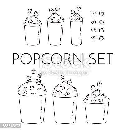 Set of cups with popcorn and kernels flying into the bucket. Different sizes of popcorn boxes isolated on white background. Modern line art style. Black and white vector illustration. Outline elements