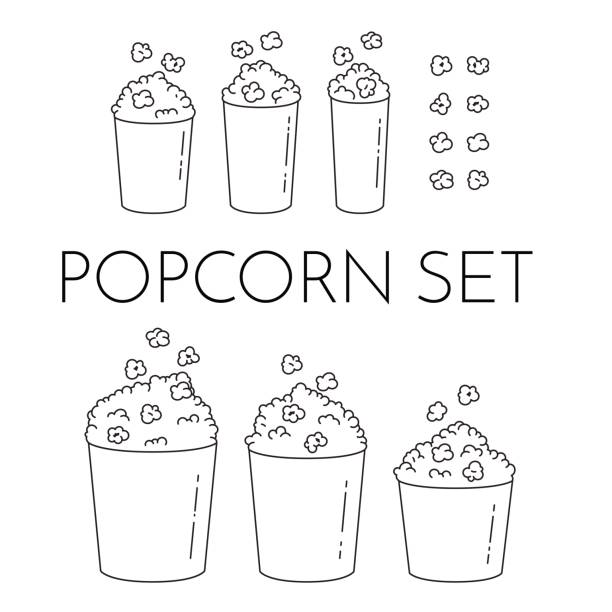 Set of cups with popcorn and kernels flying into the bucket. Different sizes of popcorn boxes isolated on white background. Set of cups with popcorn and kernels flying into the bucket. Different sizes of popcorn boxes isolated on white background. Modern line art style. Black and white vector illustration. Outline elements popcorn stock illustrations