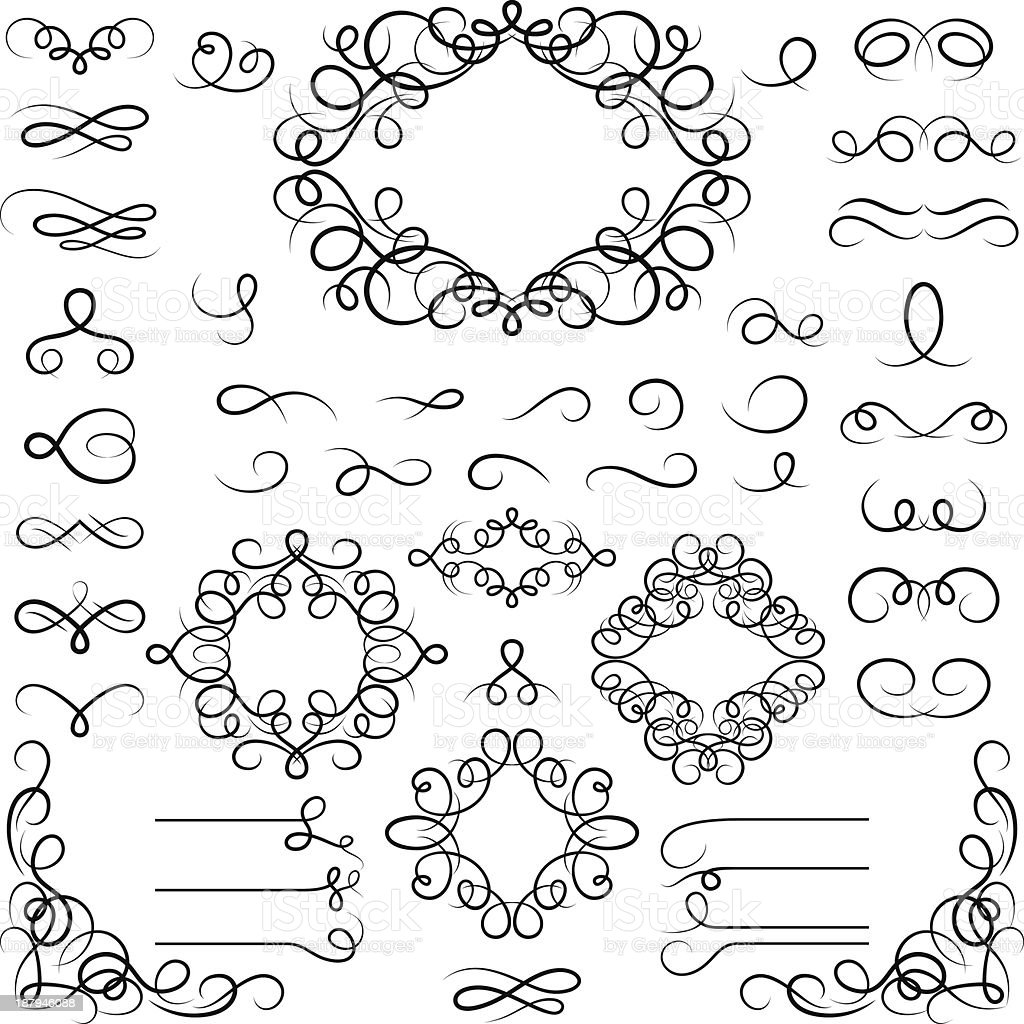 Set of curled calligraphic design elements. vector art illustration
