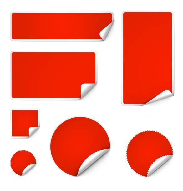 set of curled stickers isolated on white background. vector illustration. - naklejka stock illustrations