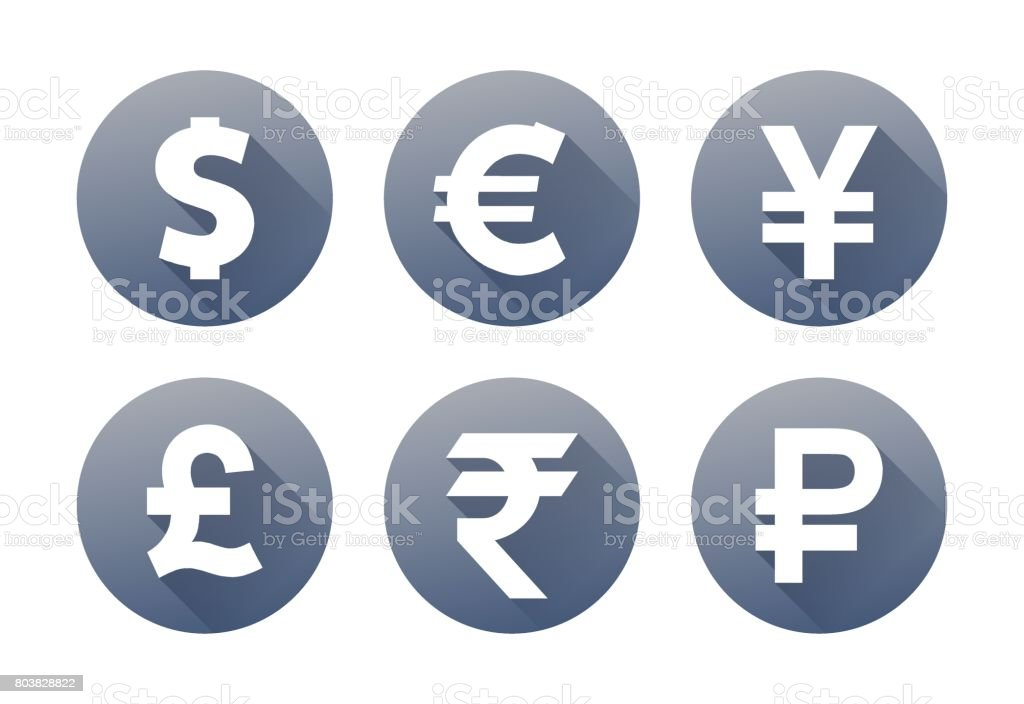 Set of currency icons with shadow vector art illustration