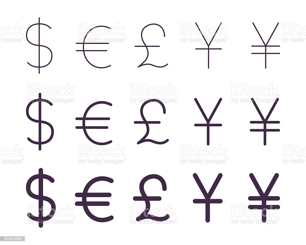 Set of currency signs vector art illustration