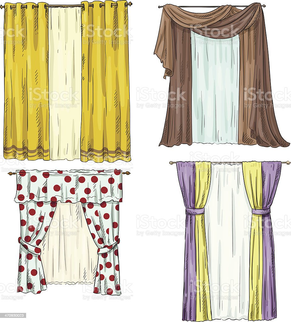 set of curtains. interior details. Cartoon style. Vector illustration royalty-free set of curtains interior details cartoon style vector illustration stock vector art & more images of blinds