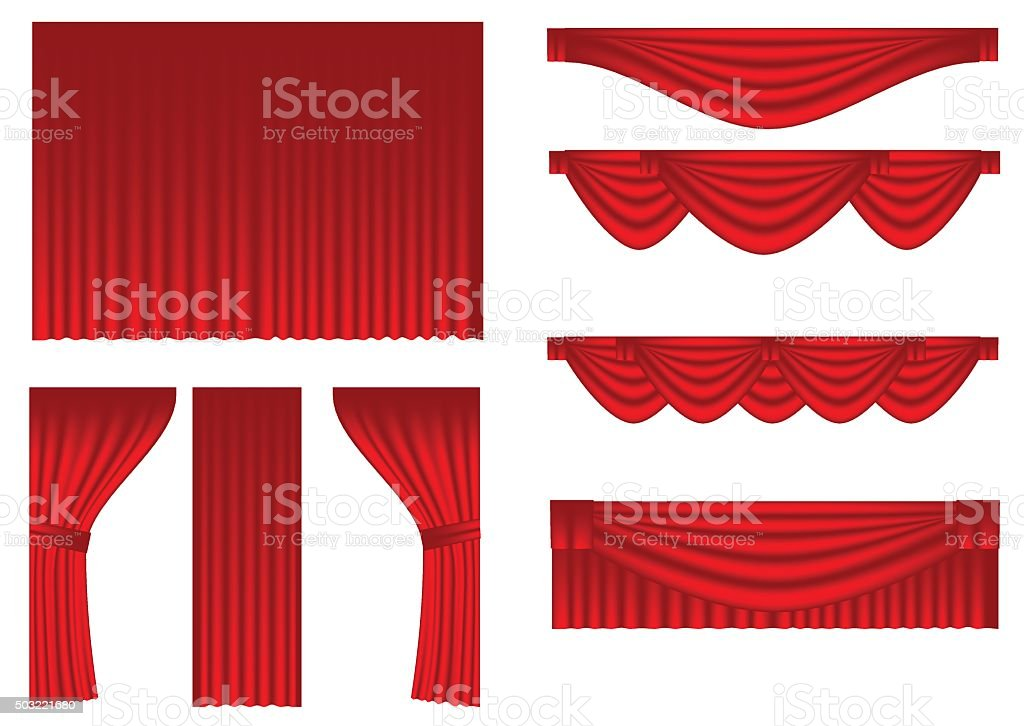 set of curtains vector art illustration