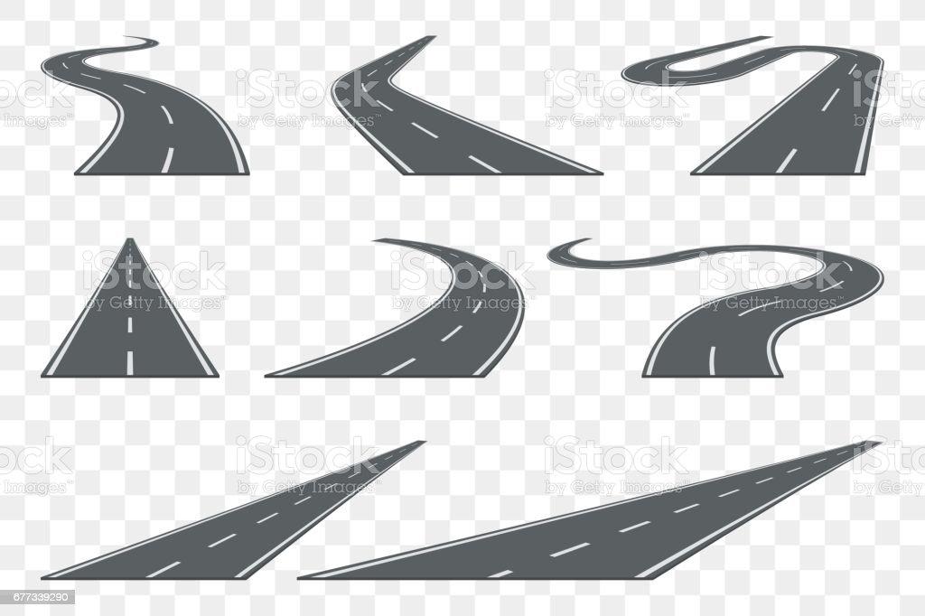 Set of curved asphalt road in perspective. Highway icons. - Grafika wektorowa royalty-free (Abstrakcja)