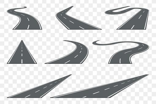 Set Of Curved Asphalt Road In Perspective Highway Icons - Stockowe grafiki wektorowe i więcej obrazów Abstrakcja