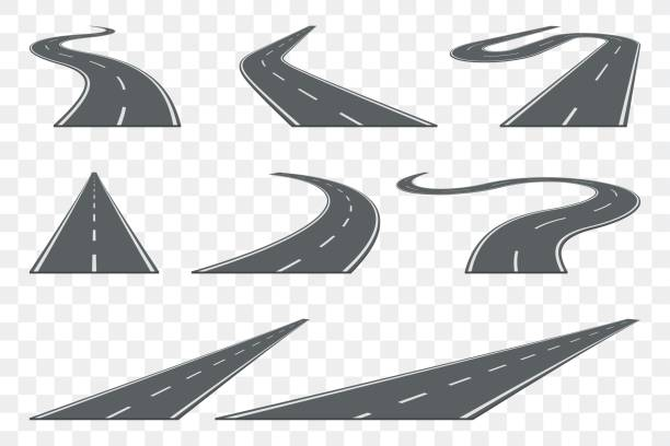 set of curved asphalt road in perspective. highway icons. - journey vector stock illustrations, clip art, cartoons, & icons