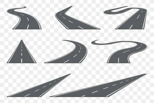 ilustrações de stock, clip art, desenhos animados e ícones de set of curved asphalt road in perspective. highway icons. - carro na rua