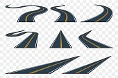 Set of curved asphalt road in perspective. Highway icons.